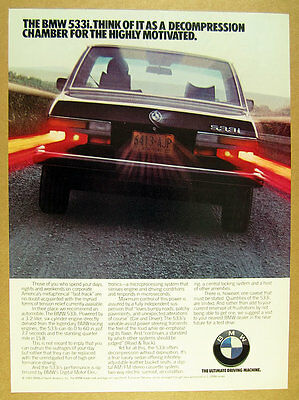 1983 BMW 533i 533-i sedan car photo vintage print Ad
