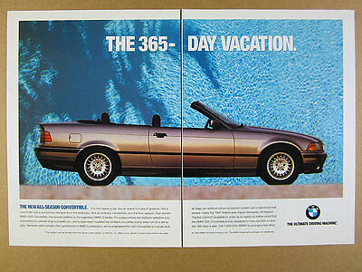 1993 BMW 325i Convertible silver car color photo vintage print Ad