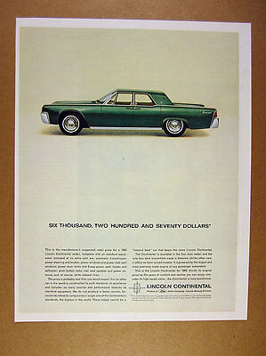 1963 Lincoln Continental green sedan car photo vintage print Ad