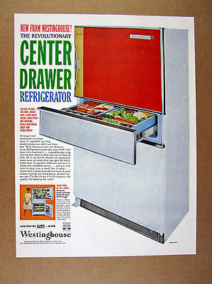 1960 Westinghouse sliding Center-Drawer Refrigeratror vintage print Ad