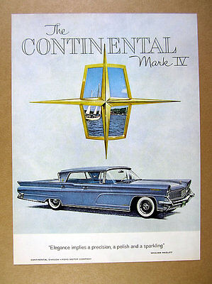 1959 Lincoln Continental Mark IV blue sedan car art vintage print Ad
