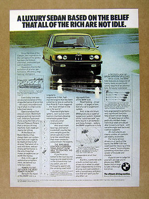 1976 BMW 530i 530-i Sedan yellow car wet track photo vintage print Ad