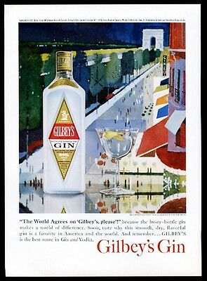 1959 Gilbey's Gin Paris Champs Elyses John Moodie art vintage print ad
