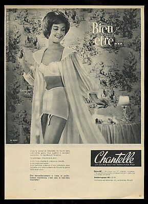1960 Chantelle lingerie bra panty gown garter belt woman photo French print ad
