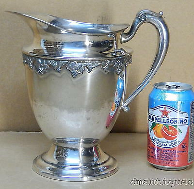 Antique Victorian National Silver Plate Jug Pitcher Embossed Grapes and Leaves
