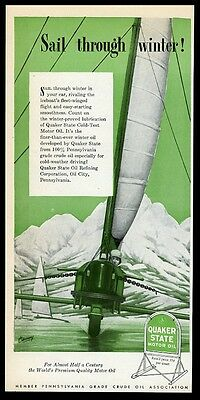 1947 ice boat iceboat race art Quaker State motor oil vintage print ad