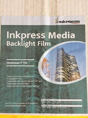 "INKPRESS Backlight Translucent White Semi-matte Inkjet Film 7 mil 13x19"" 20 pc"