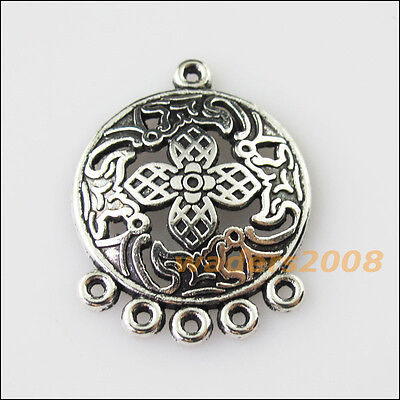 5 New Round Flower Leaf Tibetan Silver Tone Charms Pendants Connectors 22.5x29mm