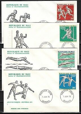 / Mali, Scott cat. C280-C283. Montreal Olympics issue. 4 First day covers.