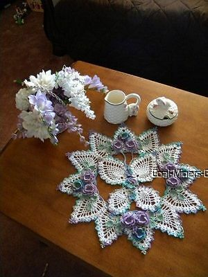 """Hand crocheted 15-1/2""""  Spring/Summer Butterfly Mother's Day Table Topper Doily"""