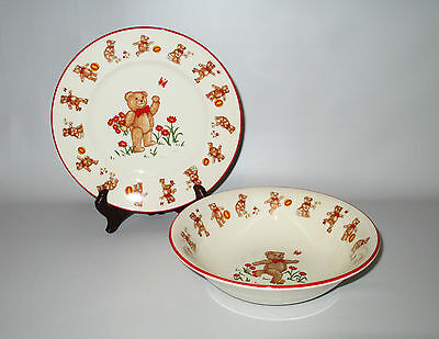 Mason's Childs Plate & Bowl Teddy Bears Red Brown Flowers Ironstone 1984 England