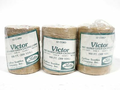 Lot of 3 Victor 12 Cord MRT Waxed Linen Lacing Cord MIL-T-713 900ft Ludlow Rolls