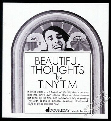 1969 Tiny Tim photo Beautiful Thoughts book release vintage print ad