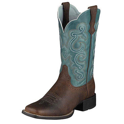 10004720 Ariat Women's Quickdraw Western Boot Brown Rowdy/Sapphire Blue NEW