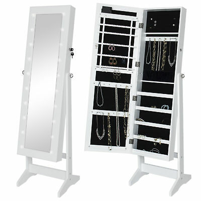 WHITE MIRROR Jewelry Cabinet Armoire W Stand Mirror Rings