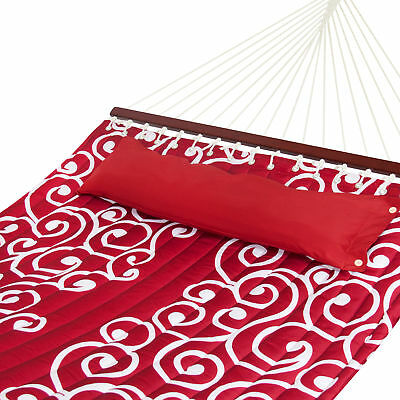 Quilted Fabric Double Hammock W/ Wood Spreader Bar- Red W/ White Accents