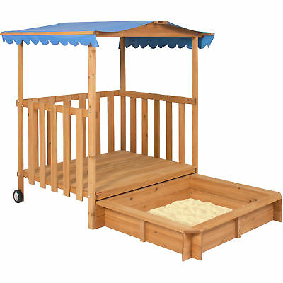 Kids Outdoor Retractable Playhouse Fort With Sandbox Children's Play Area