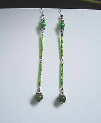 Long sexy green Miracle bead/Czech glass bugle bead earrings