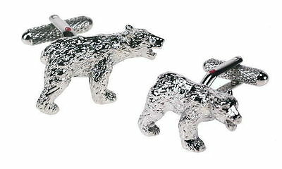 Polar Grizzly Bear Cufflinks Rhodium Plated Ideal Nature Animal Gift Boxed