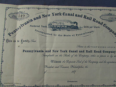 Vintage 1870S Pa & New York Canal And Railroad Company Stock Certificate