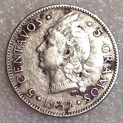 First Year of the Issue! 5 Centavos 1937 (Copper-Nickel) Dominican Republic