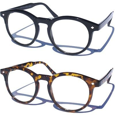 Vintage Inspired Clear Lens Eye Glasses Rounded Frame Men Women Hipster Nerd New