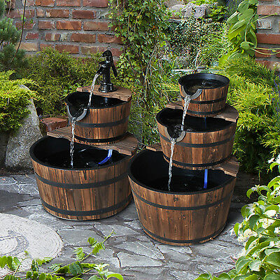 Wooden Water Feature Pump Fountain Cascading Feature Barrel Outdoor Garden Deck