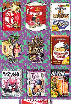 2017 WACKY PACKAGES 50TH ANNIVERSARY BEST OF 80's STICKERS COMPLETE BONUS SET