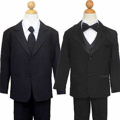 BOYS TODDLER, TEEN RING BEARER, GRADUATION BLACK SUIT SET , SIZE: 2T to 14