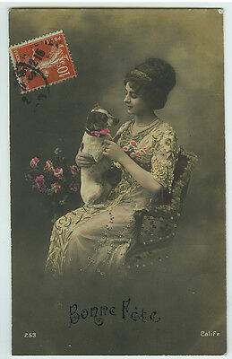 c 1912 Pretty Young LADY w/ DOG tinted French photo postcard