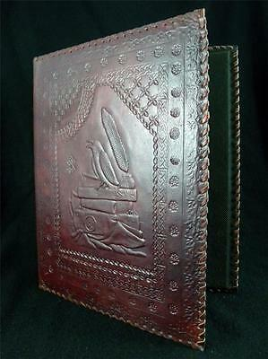 RAVEN - Pagan Wicca Handmade Leather A4 Ring-Binder - Choice of 3 or 4 Rings