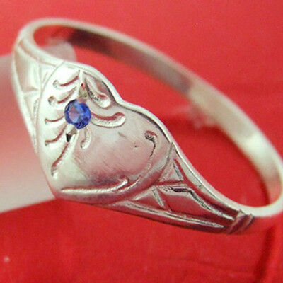 36Sr Genuine Real 925 Sterling Silver Ladies Sapphire Heart Signet Ring Size M