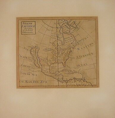 ANTIQUE HERMAN MOLL MAP NORTH AMERICA ACCORDING TO THE LATEST OBSERVATIONS 1700s