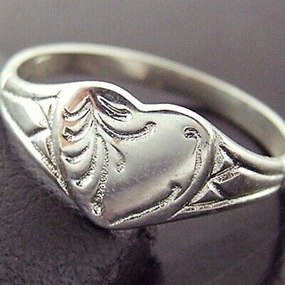 Ring 925 Solid Sterling Silver Ladies Antique Engraved Heart Signet Design SZ M