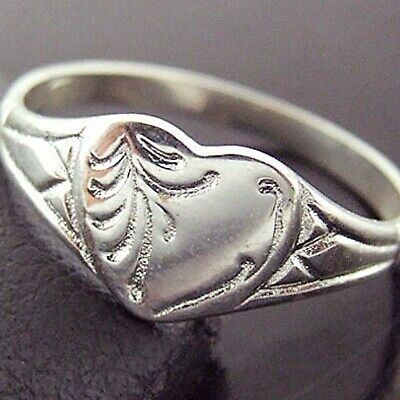 Ring Genuine 925 Solid Sterling Silver Antique Engraved Heart Signet Design Sz M