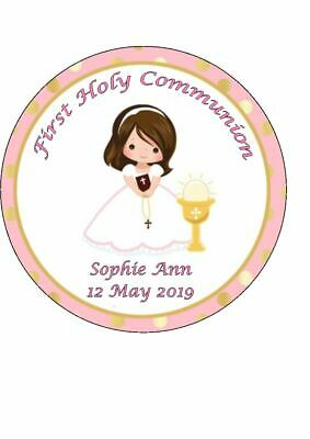 Personalised First Holy Communion Cake Topper Girl Easy Peel Icing Round