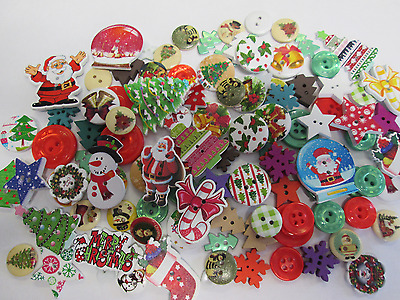 100 Assorted Mixed Novelty Christmas Buttons Wood And Resin Mixed Styles