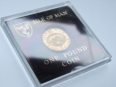 Superb Isle Of Man £1 One Pound 1983 Peel Town Commissioners, Perspex Cased