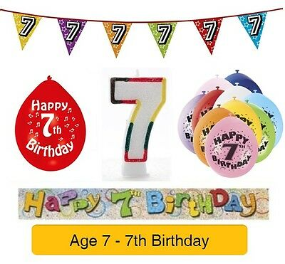 AGE 7 - Happy 7th Birthday Party Balloons, Banners ...