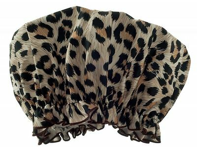 Hydrea London Eco-Friendly PEVA Shower Cap SC01L Leopard Print Design