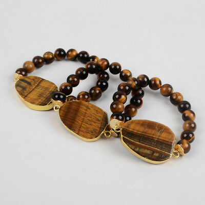 5Pcs Tiger's Eye With 10mm Stone Beads Bracelet Gold Plated Jewelry DIY BG1209