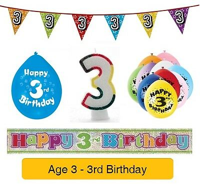 AGE 3 - Happy 3rd Birthday Party Banners, Balloons & Decorations