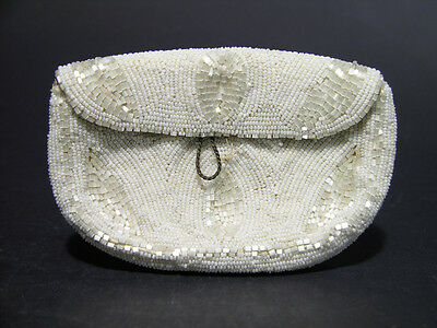 Vintage 1920's Art Deco White Glass Beaded Flapper or Wedding Clutch