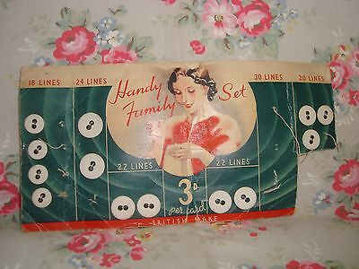 Vintage Card - Handy Family Set Linen Buttons (part used card)