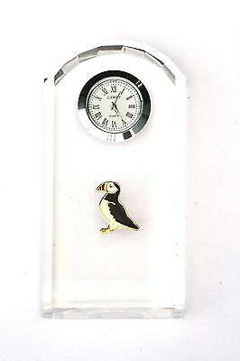 Puffin Enamel Design Glass Clock Bedside or Desk Top Cliff Bird Gift Boxed 289