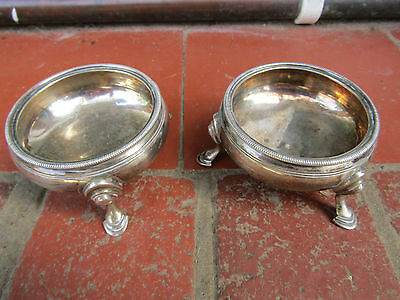 Pair of Henry Corry GEORGE III  Sterling Silver SALT CELLARS London 1766 in Vgc