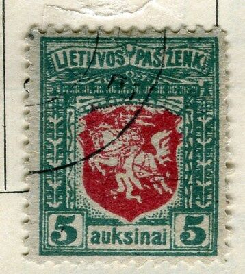 LITHUANIA;   1919 early issue fine used 5a. value