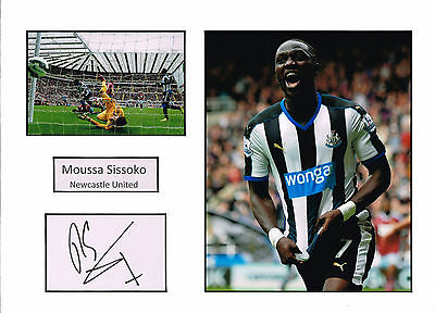 Moussa SISSOKO SIGNED Autograph 16x12 Mounted Card AFTAL COA Newcastle United