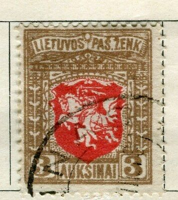 LITHUANIA;   1919 early issue fine used 3a. value