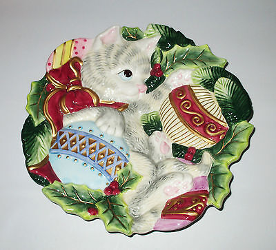 Fitz and Floyd Essentials Christmas Plate Kristmas Kitty Kitten in Ornaments